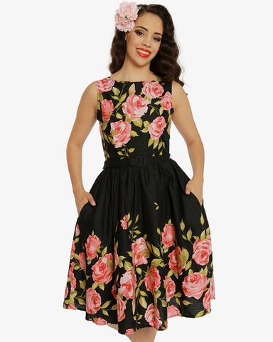 Audrey Pink Rose Border Dress