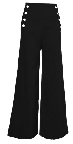 Sailor Pants- Black with White Buttons