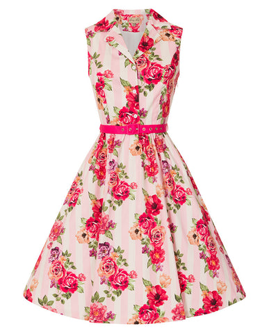 Matilda Pink Floral Stripe Collar Dress
