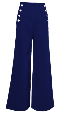 Sailor Pants- Navy with White Buttons
