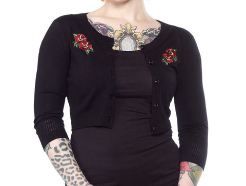 Pointelle Cropped Cardigan- Black with Rose Embroidery