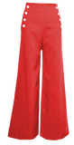 Sailor Pants- Red with White Buttons