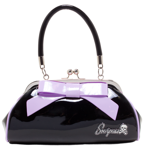Floozy Bag- Black with Lilac Bow