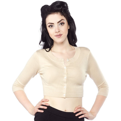 Pointelle Cropped Cardigan- Nude