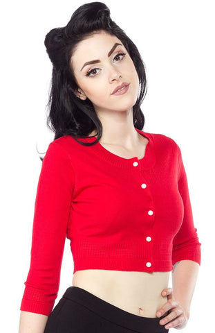 Pointelle Cropped Cardigan- Red