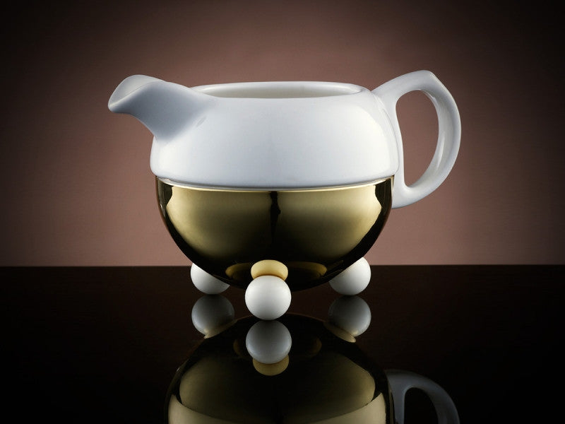 TWG Tea Design Gold Creamer in White