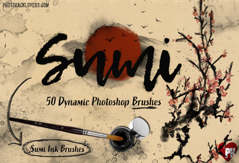 50 JAPANESE - sumie - PHOTOSHOP BRUSHES