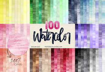 100 Watercolor Ombre digital papers