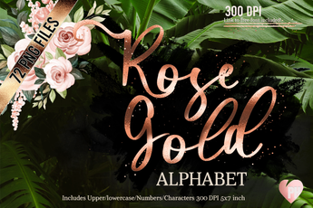 Rose Gold Foil Alphabet Clipart - Photohack Lovers