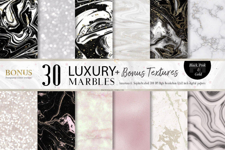Pink Gold & black Modern Marble Textures - Photohack Lovers