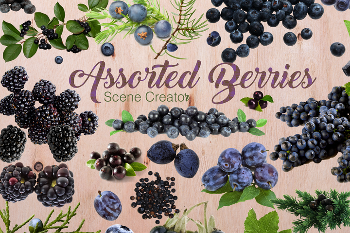 Assorted Berries on Transparent Background