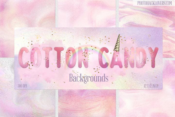 Cotton Candy Digital paper + Brushstrokes - Photohack Lovers