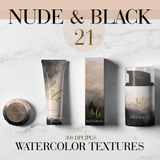 Nude & Black Watercolor Backgrounds