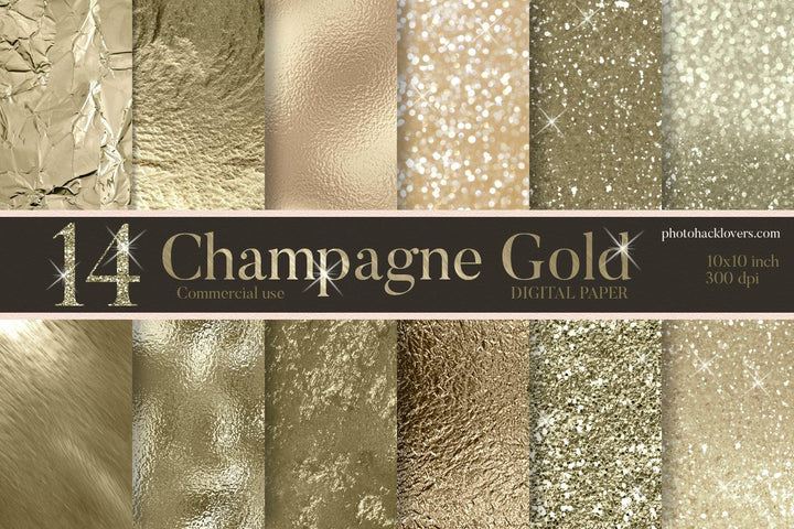 Champagne Gold Digital Paper - Photohack Lovers