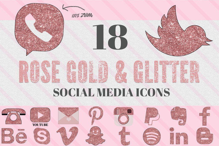 Rose Gold glitter Social Media Icons - Photohack Lovers