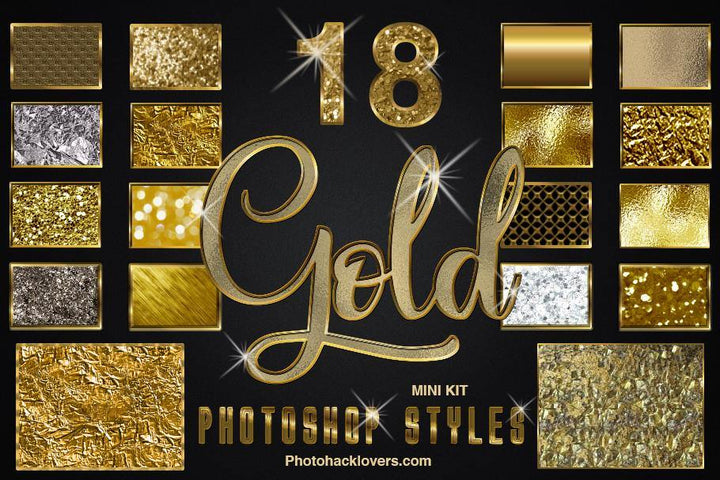 18 Gold Photoshop Styles Mini Bundle