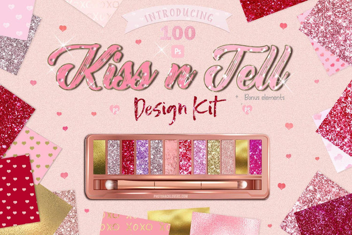 Kiss n Tell Photoshop Design Bundle - Photohack Lovers