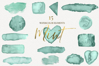 Mint watercolor shapes clipart - Photohack Lovers