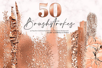 50 Rose Gold Brush Strokes - Photohack Lovers