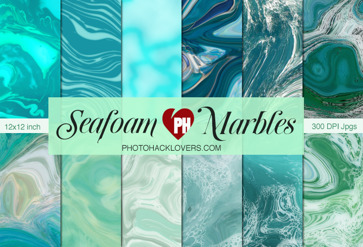 Seafoam Marble Digital Paper - Photohack Lovers