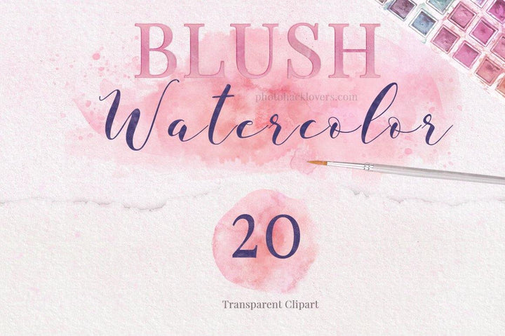 Blush Watercolor Clipart - Photohack Lovers