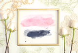 Blush and Navy Watercolor Splash Clipart