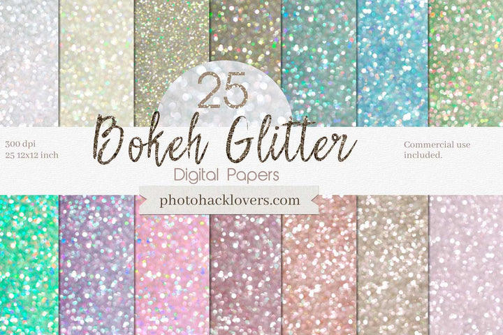 25 Pastel Bokeh Digital Papers