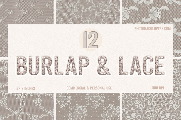 Burlap & lace Digital Paper