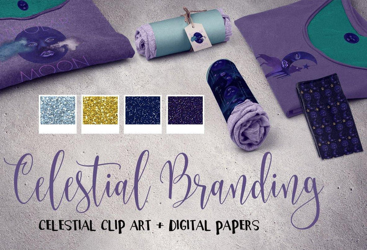 Celestial clip art and Digital Papers - Photohack Lovers
