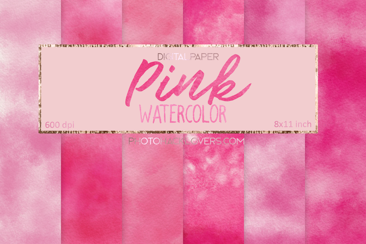 Pink Watercolor Digital Paper - Photohack Lovers