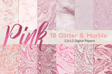 Pink Glitter marble Digital paper