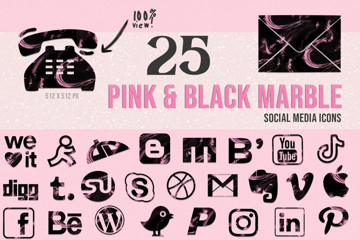 Pink and Black Marble Social Media Icons - Photohack Lovers