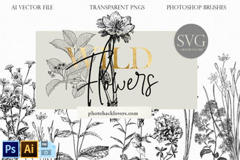 Wild Flower Illustration SVG Clipart - Photohack Lovers