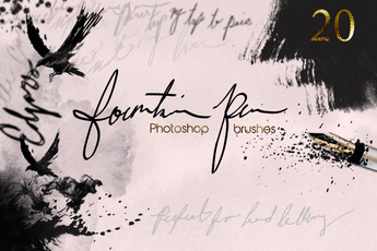 Fountain Pen Photoshop Ink Brushes - Photohack Lovers