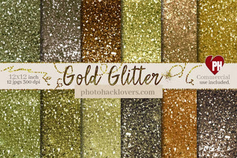 Gold Glitter Digital Paper - Photohack Lovers