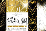 BLACK and GOLD Digital Paper - Photohack Lovers