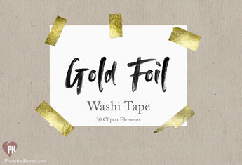 30 Gold Foil Washi Tape clipart - Photohack Lovers