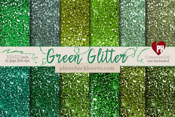 Green Chunky Glitter Digital Paper - Photohack Lovers