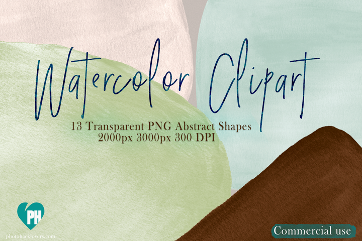 Watercolor abstract shapes clipart vol 03 - Photohack Lovers