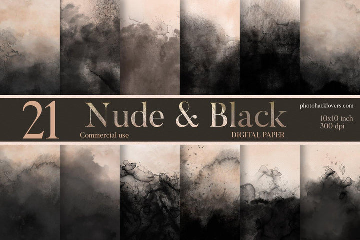 Nude & Black Watercolor Backgrounds - Photohack Lovers