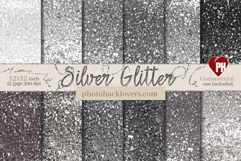 Silver Glitter Digital Paper - Photohack Lovers