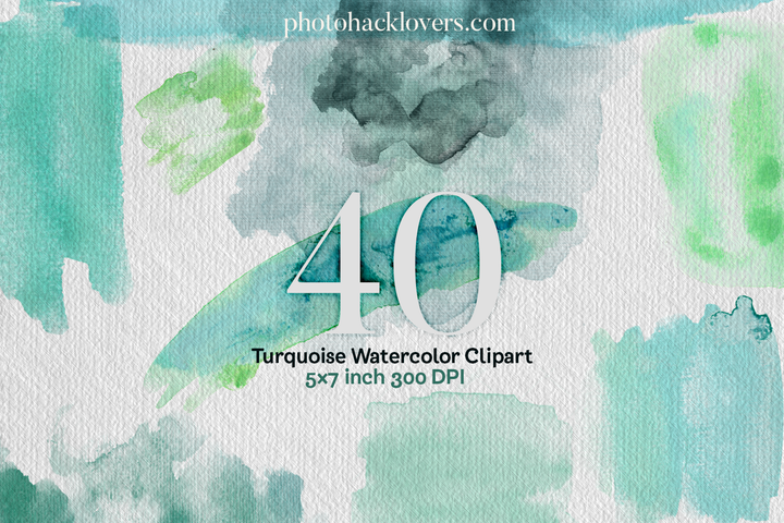 40 Turquoise watercolor splashes png