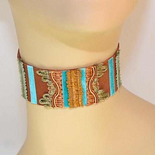 Blue and Brown Suede Choker
