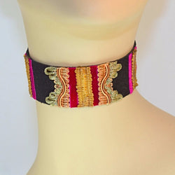 Black and Pink Suede Choker 2