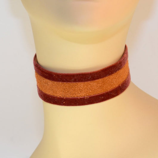 Light Brown Suede Choker with Brown Velvet Trim
