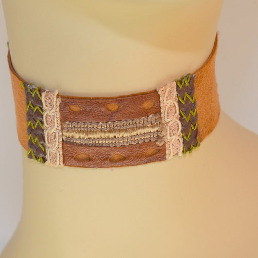 Light Brown Suede Choker with Leather and Braid Trim