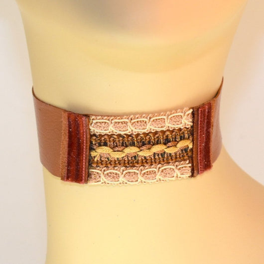 Brown Leather Choker with Brown Velvet and Natural Trims