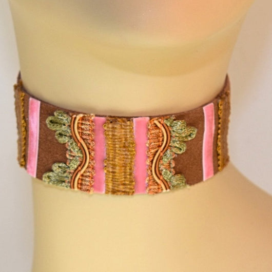 Brown and Pink Suede Choker