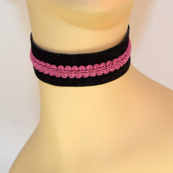 Black Suede Choker with Pink Trim
