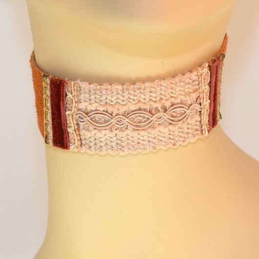 Light Brown Suede Choker with natural and brown velvet trim
